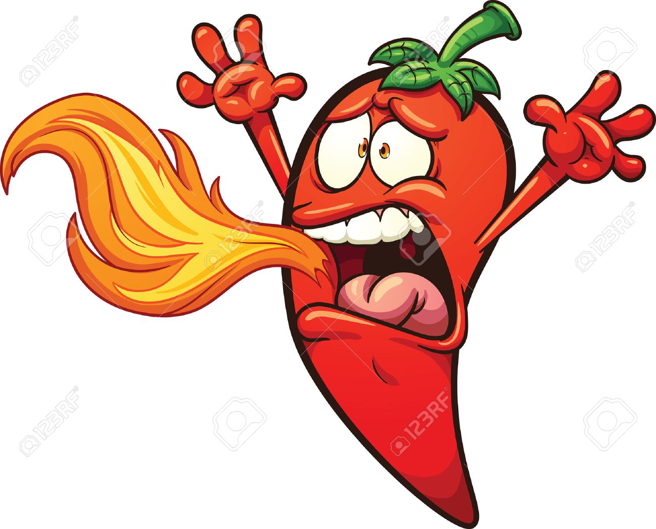 spicy chili pepper breathing fire vector clip art illustration