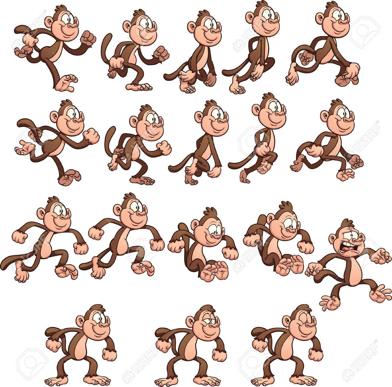 Cartoon monkey sprites  Vector clip art illustration with simple