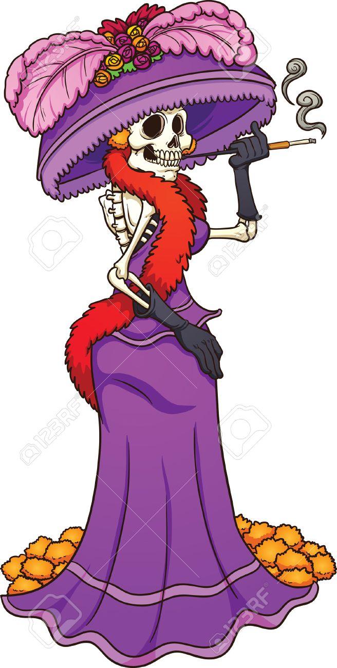 Catrina Mexicano Con Un Vestido De Color Púrpura Vector Ilustración De Imágenes Prediseñadas Con Gradientes Simples Todo En Una Sola Capa