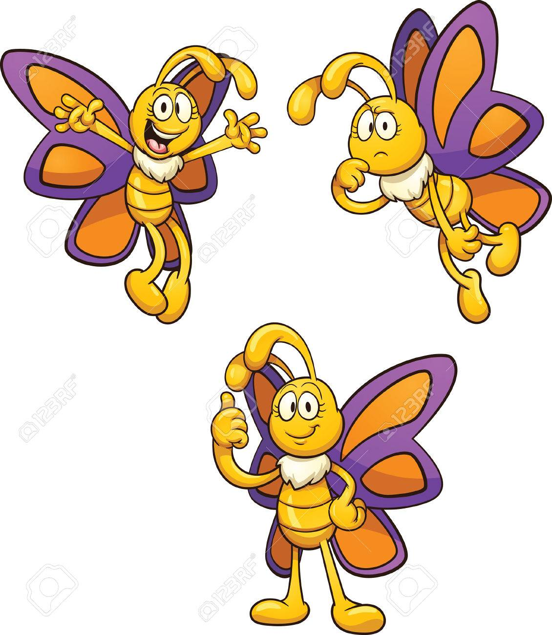Cartoon Butterfly In Different Poses. Vector Clip Art Illustration ...