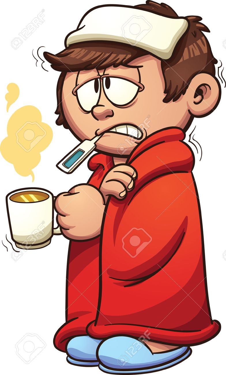 Kid sick with a cold and fever. Vector clip art illustration with simple gradients. Kid and steam on separate layers. - 50221259