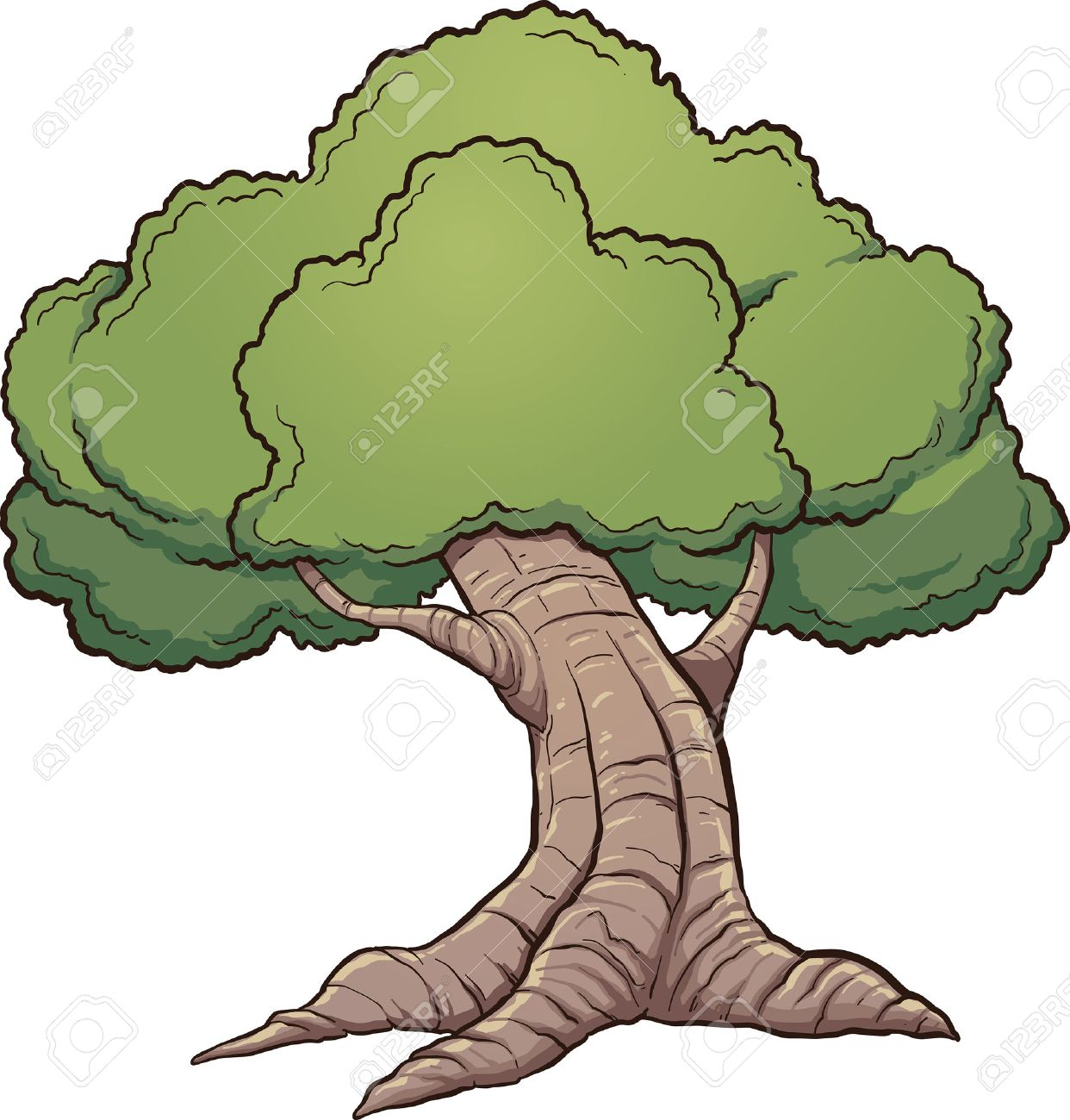 cartoon oak tree vector clip art illustration with simple gradients rh 123rf com oak tree clipart silhouette dead oak tree clipart