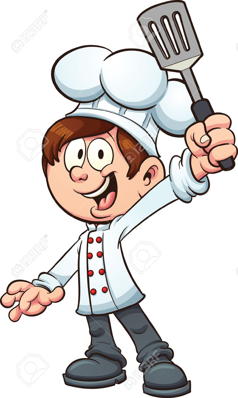 chef boy holding a spatula vector clip art illustration with rh 123rf com chef clip art free download chef clipart black and white