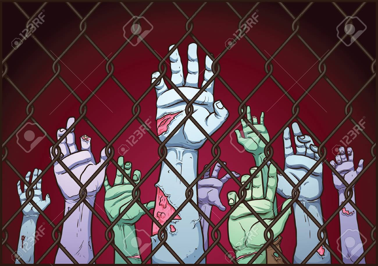 Zombie hands behind a fence. Vector clip art illustration with simple gradients. Fence, background and hands on separate layers. - 50221272