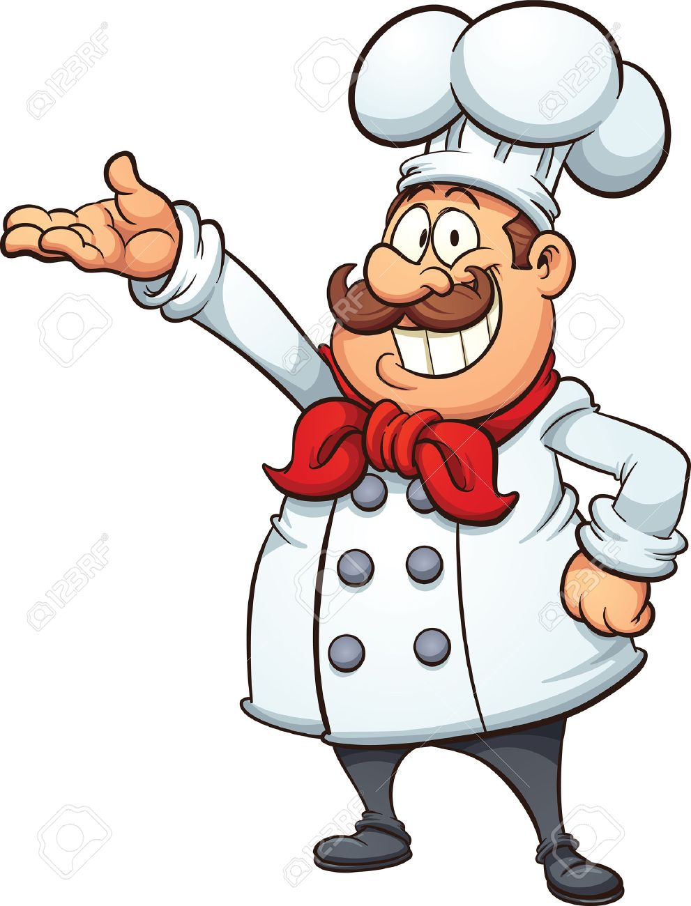 Fat cartoon chef. Vector clip art illustration with simple gradients. All  in a single 11b7795c5ca5