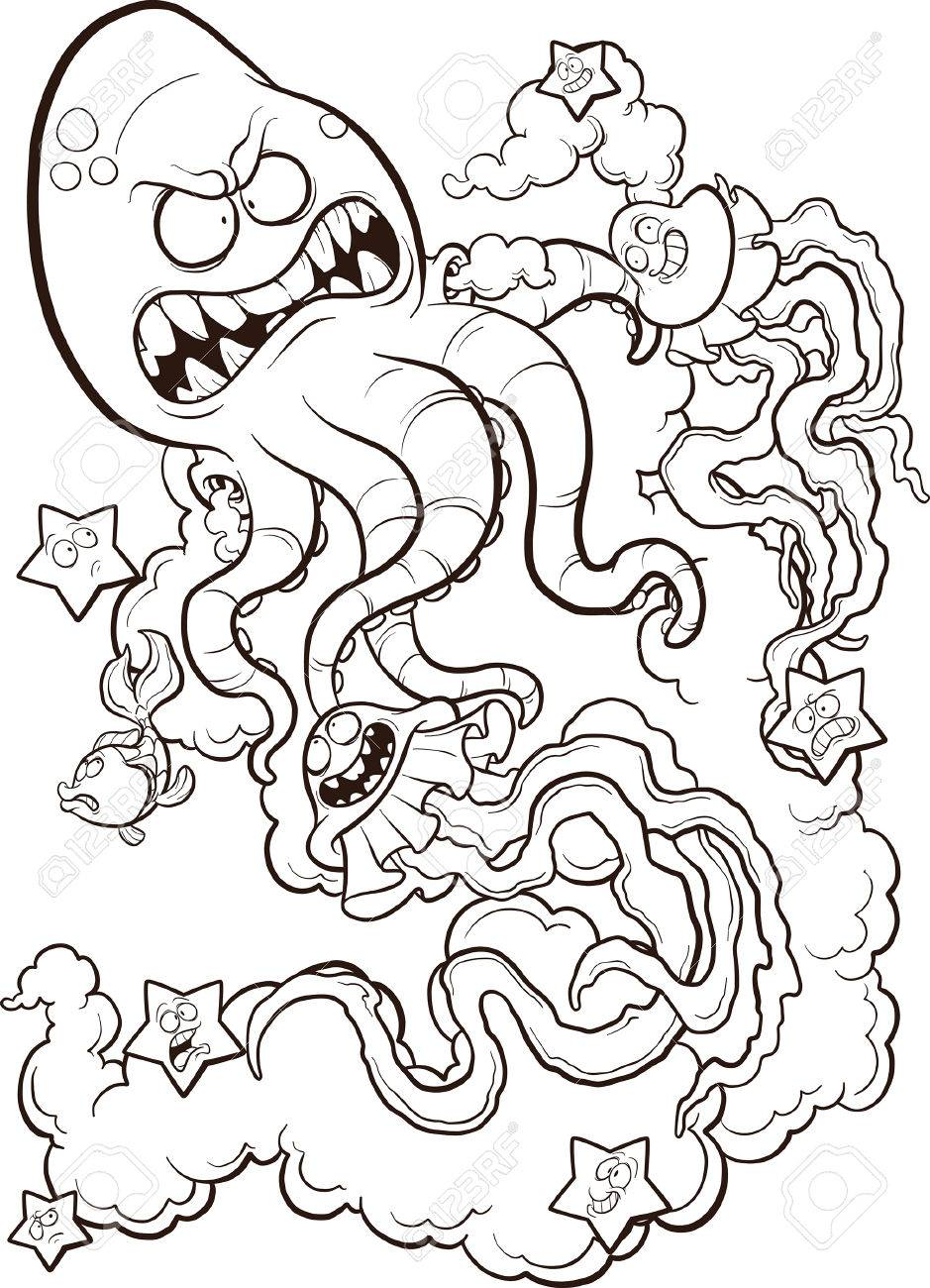 Dibujo Lineal De Un Pulpo Lucha Contra Un Par De Medusas. Vector ...
