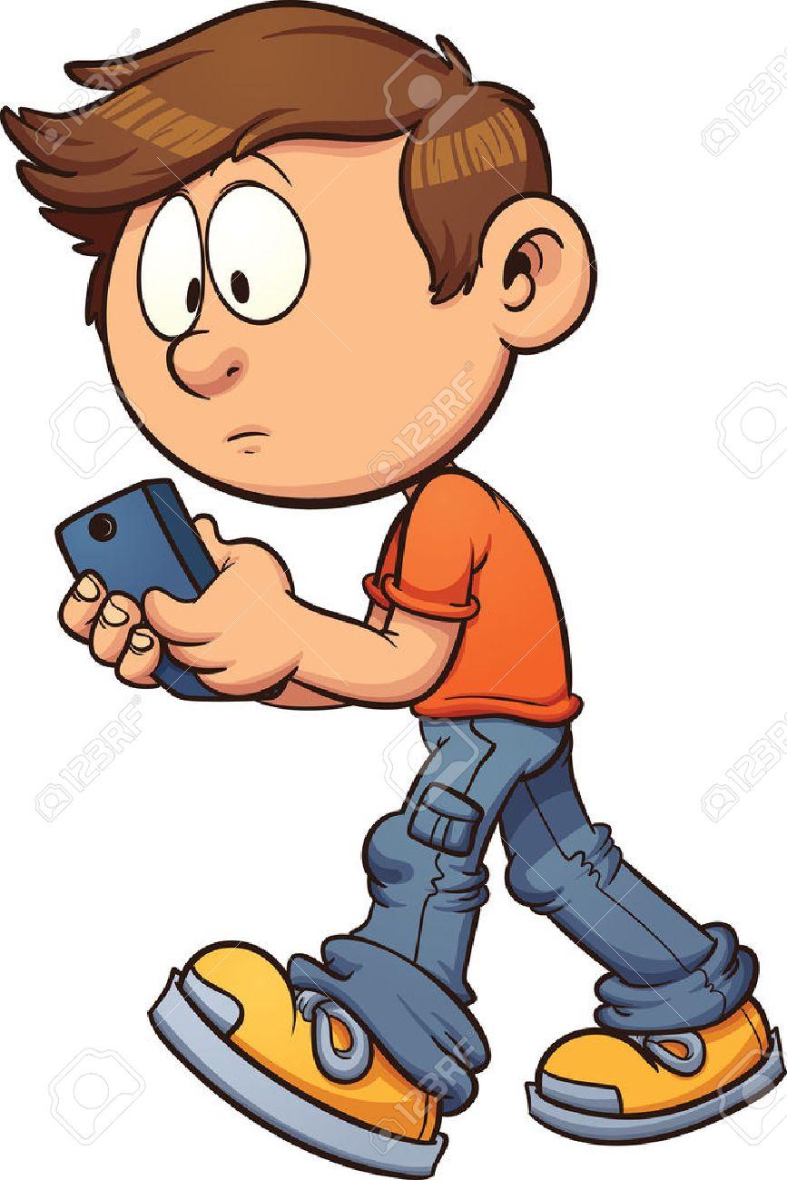 cartoon boy texting while walking vector clip art illustration