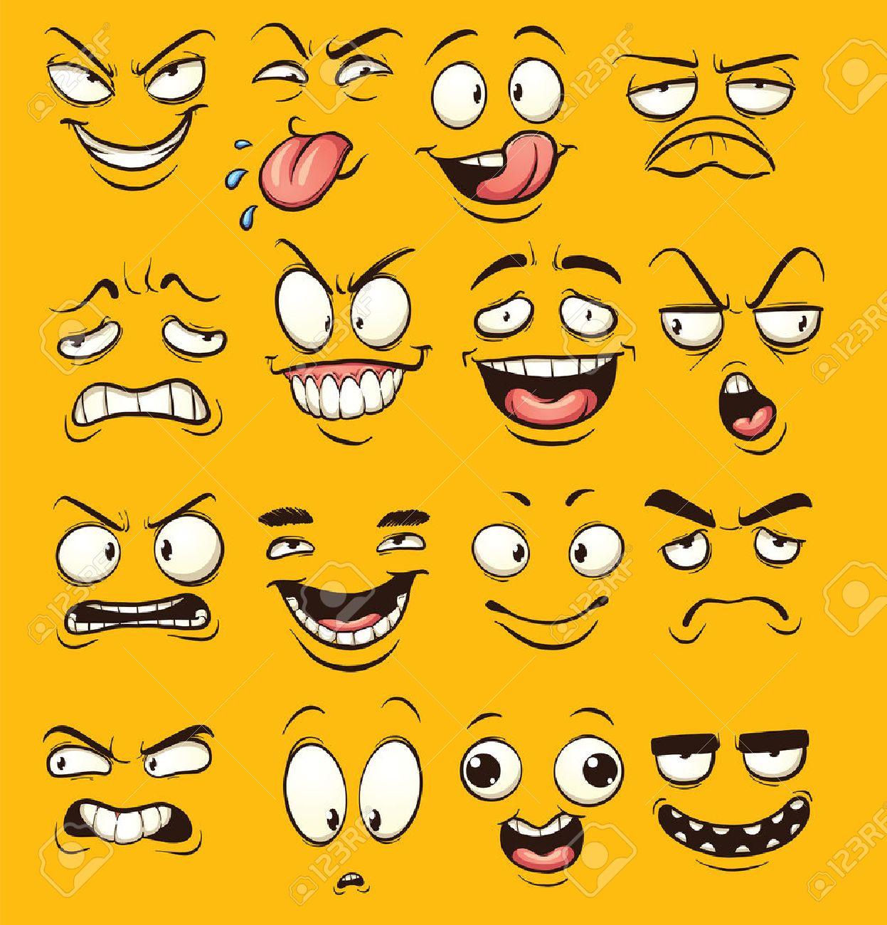 面白い漫画顔。簡単なグラデーションとクリップ アート イラスト。別の