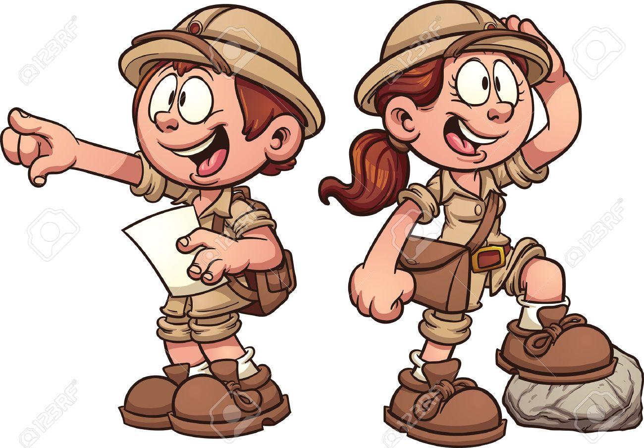 男の子と女の子のサファリの衣装にベクター クリップ アート漫画