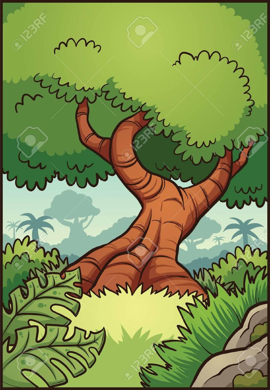 Dibujos Animados Fondo De La Selva. Vector Ilustración De Imágenes ...
