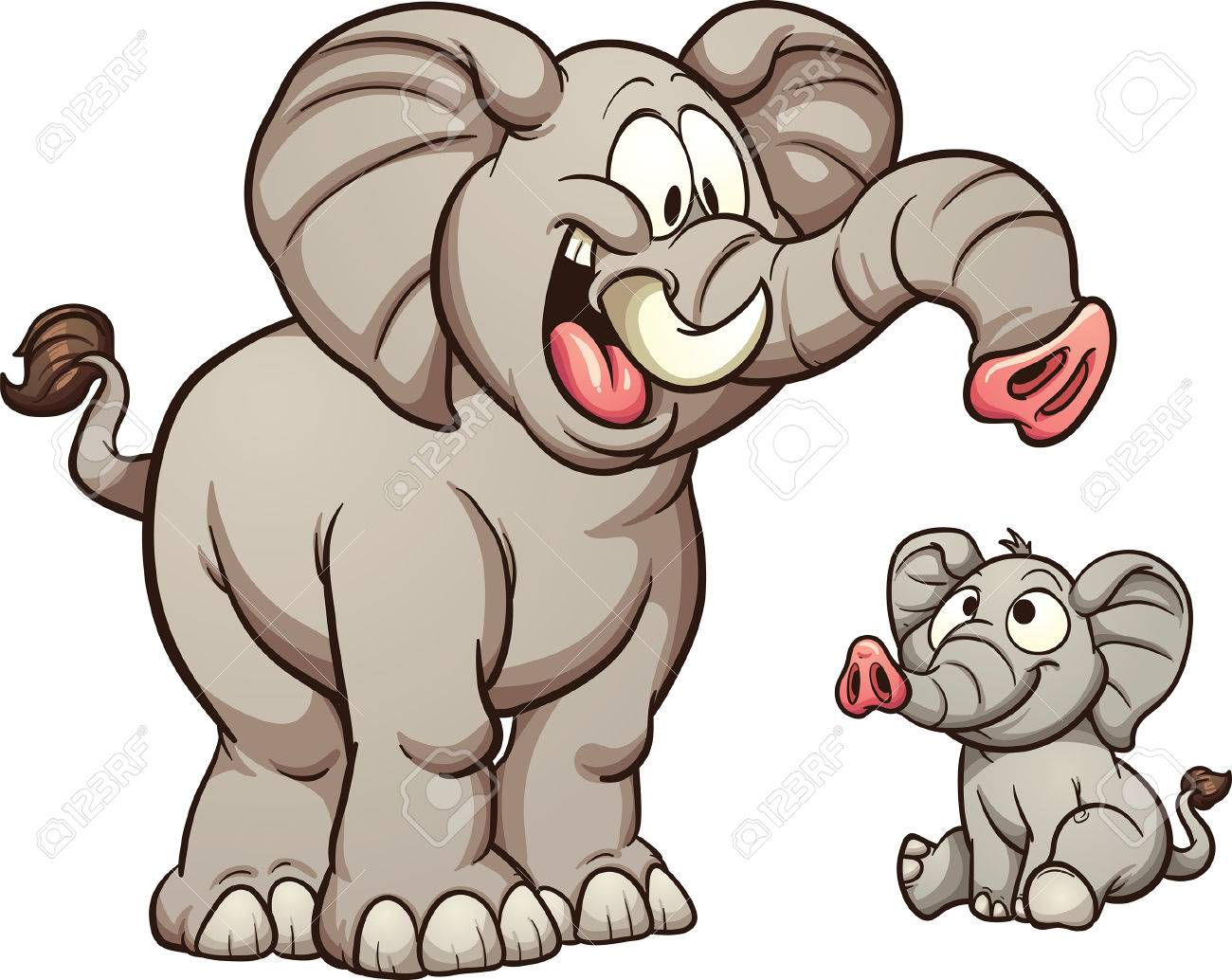 Big and small cartoon elephants. Vector clip art illustration with simple  gradients. Each on 56d21b459