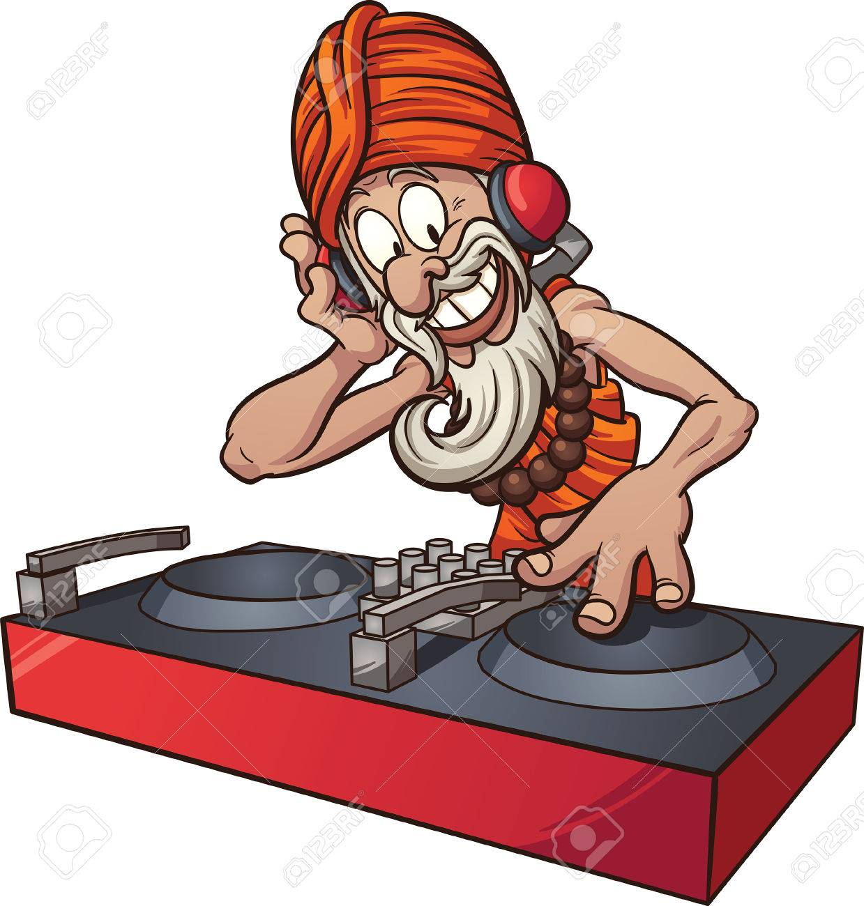 cartoon dj guru vector clip art illustration with simple gradients rh 123rf com dj vector art dj victorville