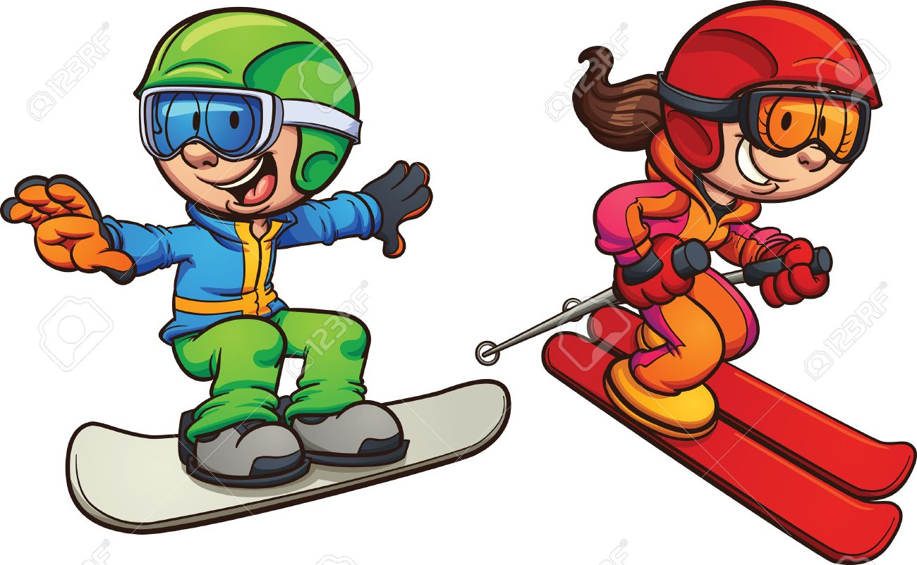 Skiing and snowboarding kids. Vector clip art illustration with simple gradients. Each on a separate layer. - 59789564