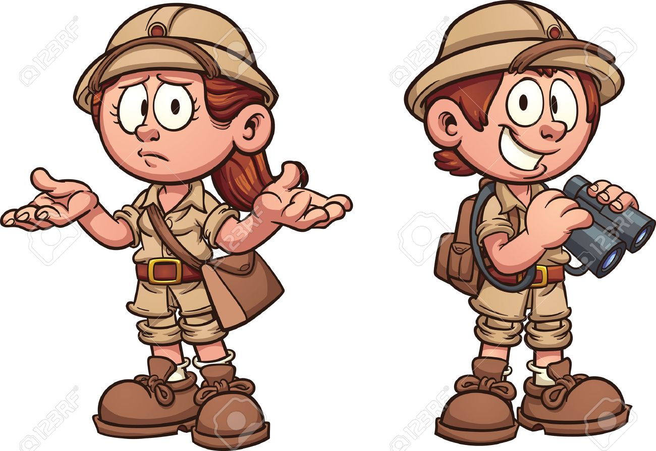 Explorer Kids In Safari Outfits Vector Clip Art Cartoon Illustration With Simple Gra Nts Each
