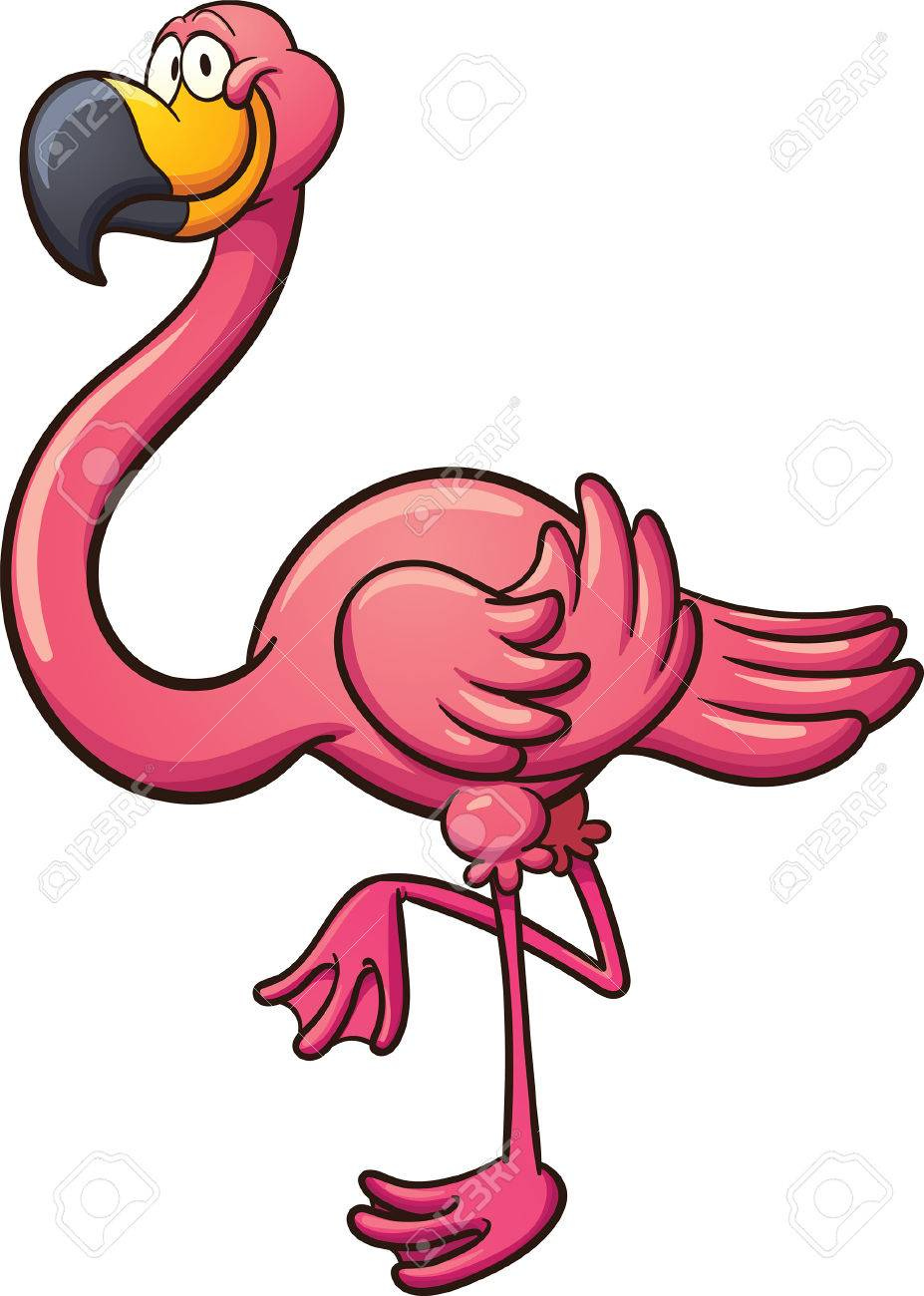 cartoon flamingo clip art illustration with simple gradients rh 123rf com