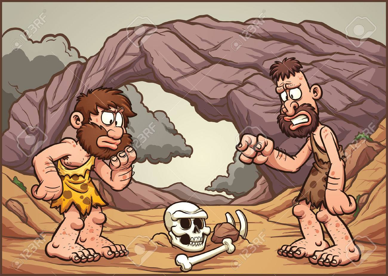 Hombres De Las Cavernas De Dibujos Animados Que Buscan En Un Cráneo Vector Ilustración De Imágenes Prediseñadas Con Gradientes Simples Hombres De
