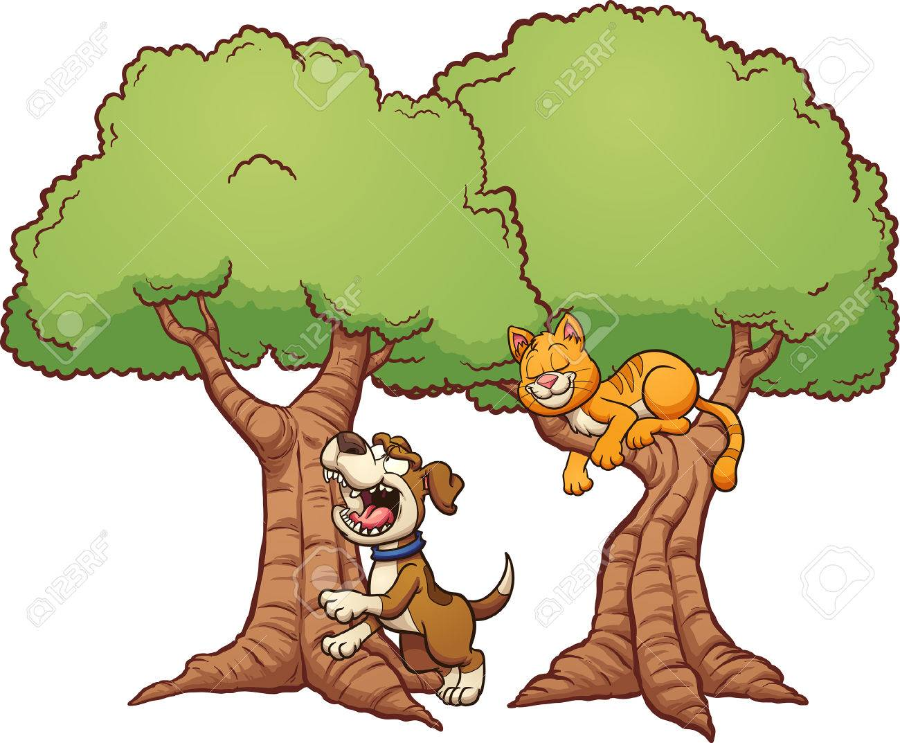 Dog Barking Up The Wrong Tree Clip Art Illustration With Simple Royalty Free Cliparts Vectors And Stock Illustration Image 72320426