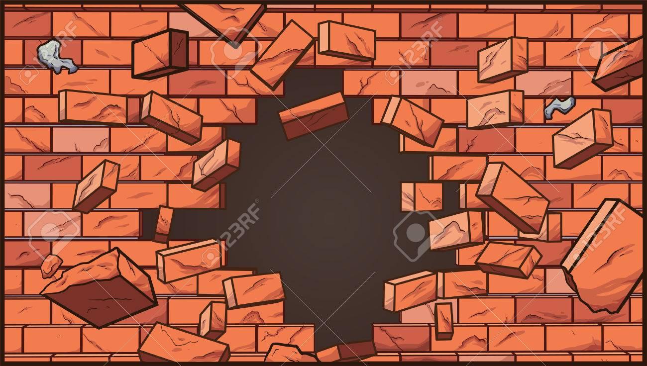 壊れたレンガ壁 シンプルなグラデーション ベクター クリップ アート