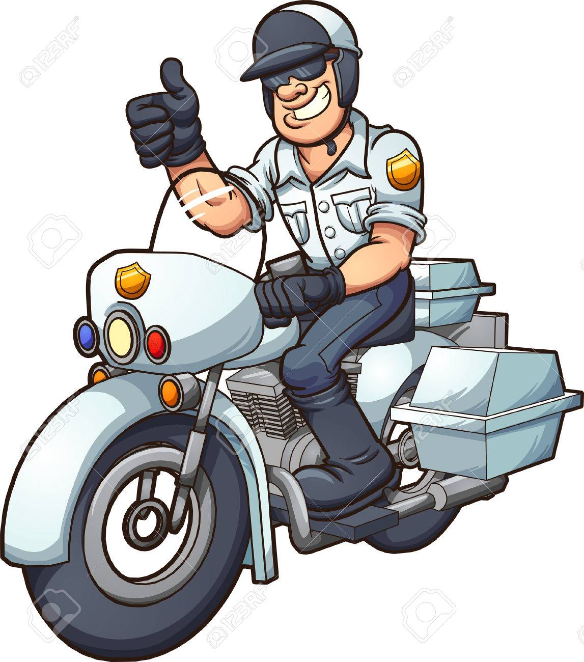 Cartoon Motorcycle Cop Vector Clip Art Illustration With Simple