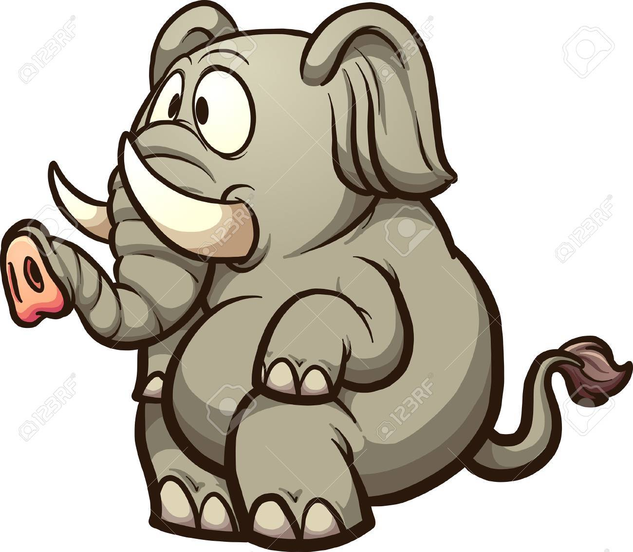 Fat cartoon elephant sitting. Vector clip art illustration with simple  gradients. All in a 488a87a9a