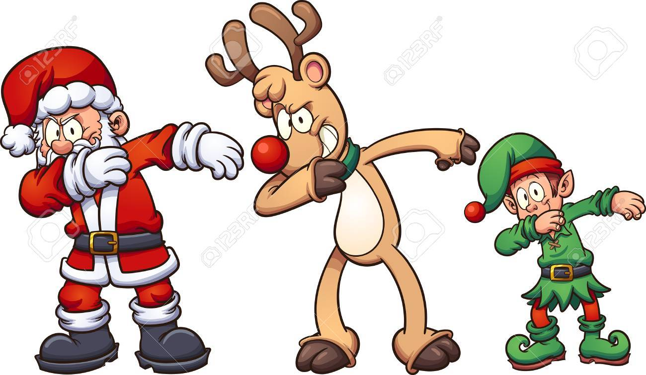 Dabbing Christmas characters. Vector clip art illustration with simple gradients. Each on a separate layer. - 87692560