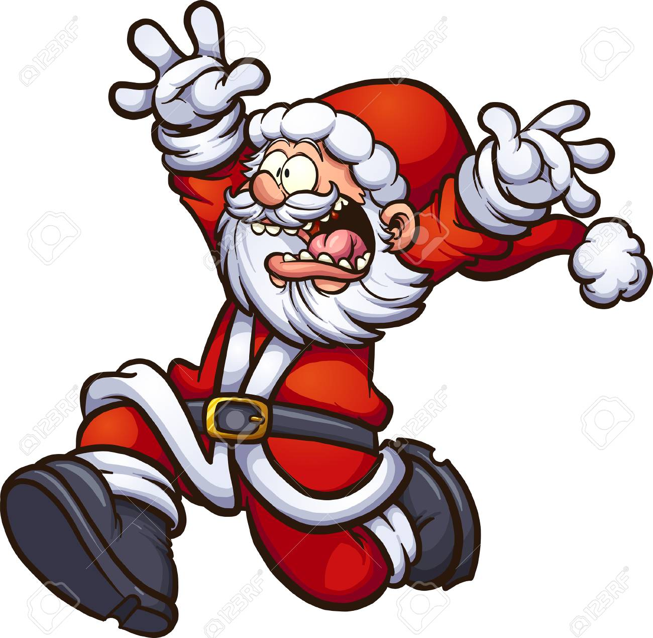 Santa Claus running scared with arms up. Vector clip art illustration with simple gradients. All in a single layer. - 88465637