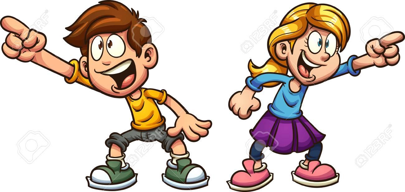 漫画の少年と少女が何かを指差している単純なグラデーションを使用したベクトル クリップ アート イラストレーションそれぞれ別々のレイヤー上に配置されます