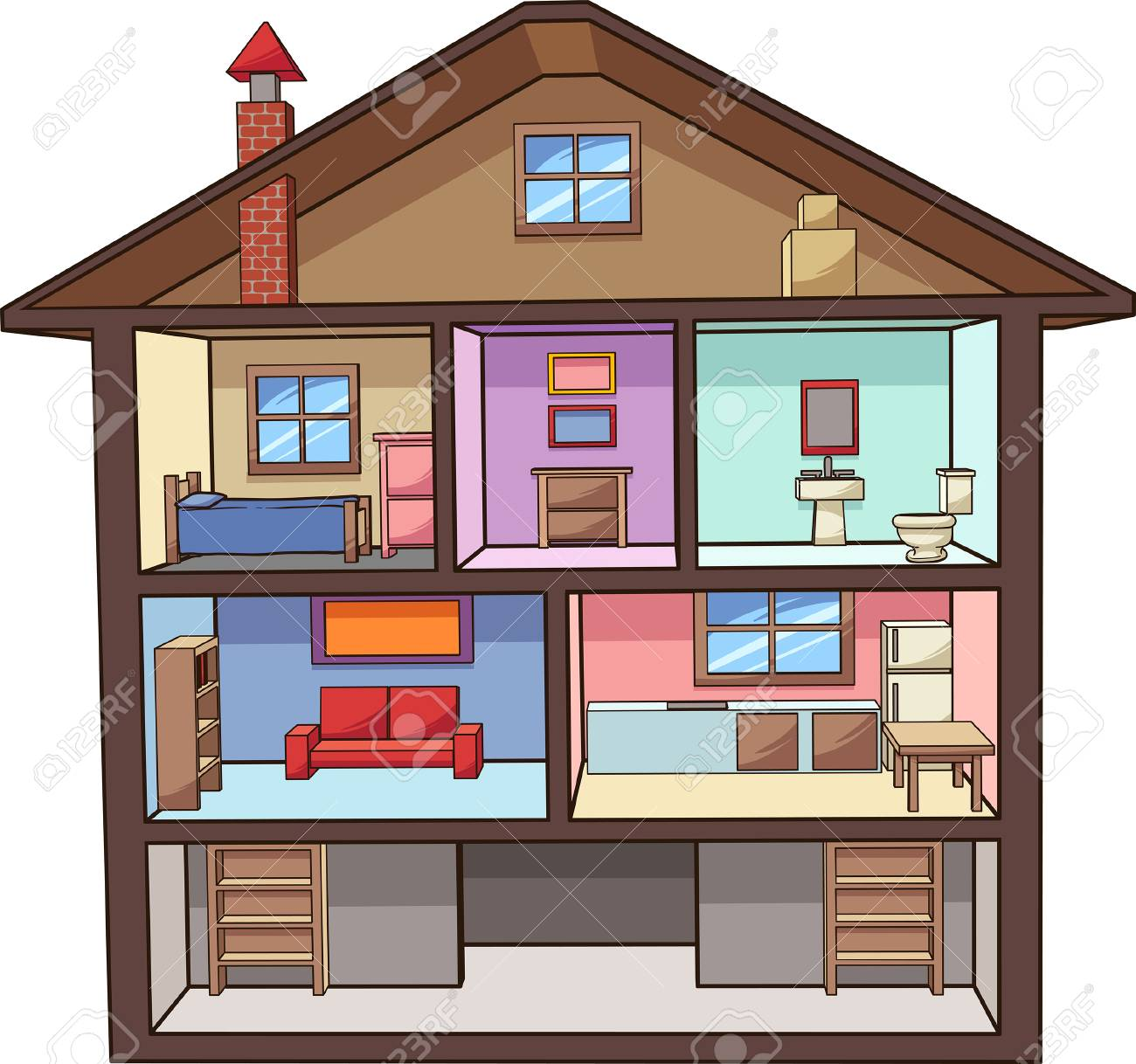 Cartoon House Interior Vector Clip Art Illustration With Simple Royalty Free Cliparts Vectors And Stock Illustration Image 96366375