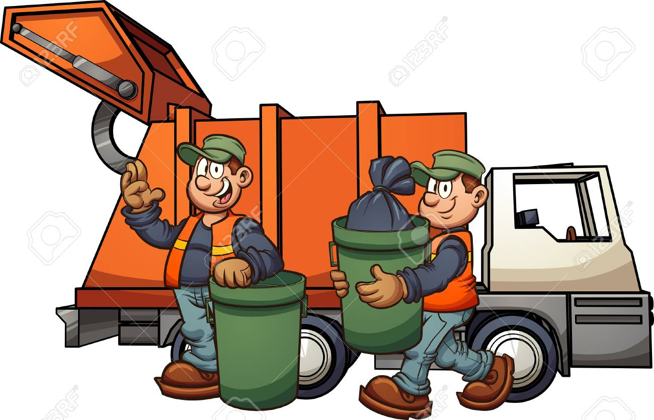 Cartoon garbage men with truck, picking up trash. Vector clip art illustration with simple gradients. Some elements on separate layers. - 104359570