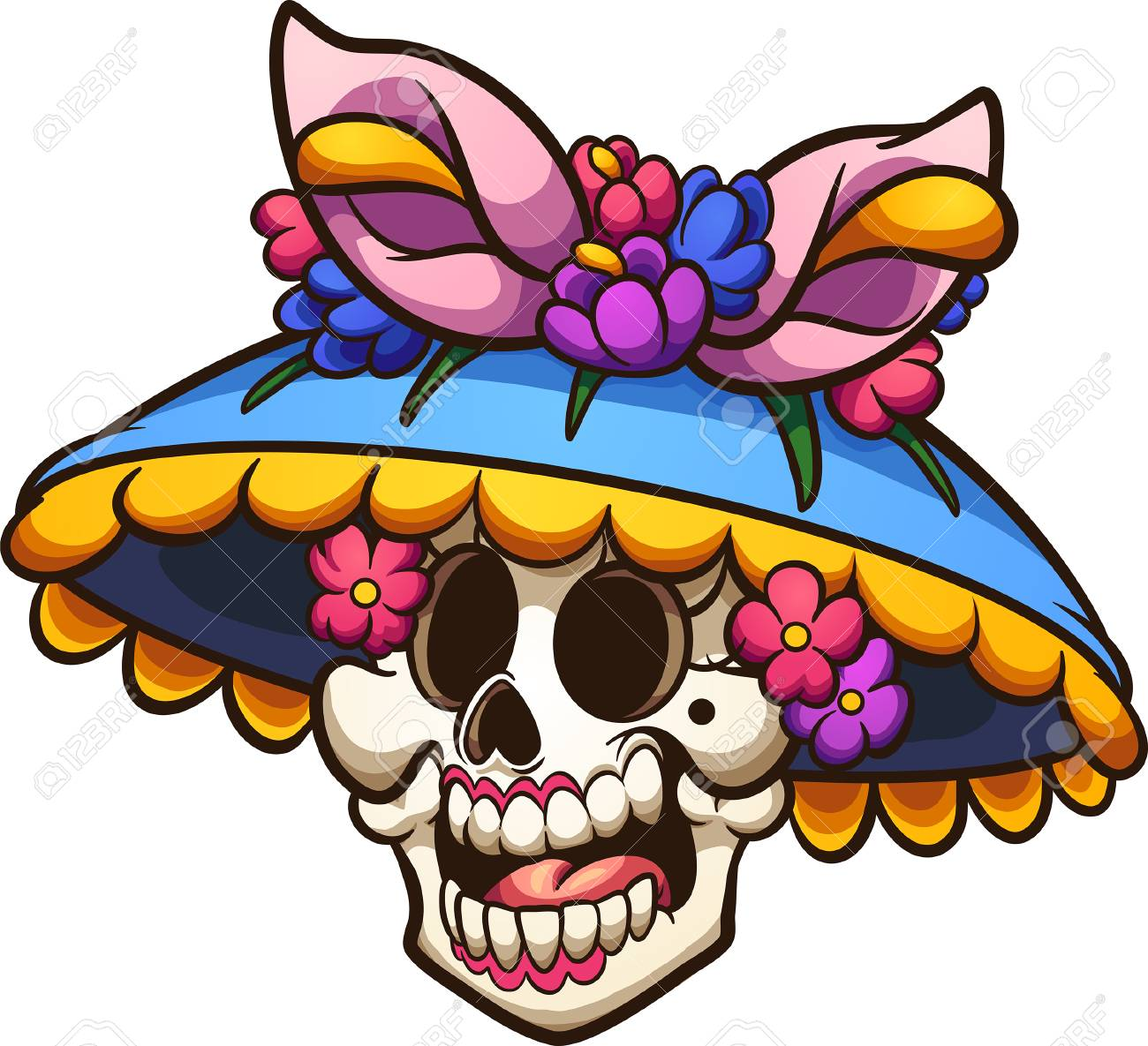 Day Of The Dead Mexican Catrina Head. Clip Art Illustration With ...
