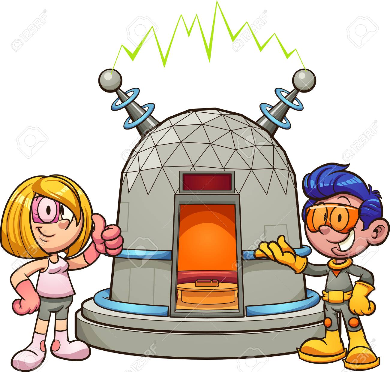 Cartoon girl and boy with time machine. Vector clip art illustration with simple gradients. Some elements on separate layers. - 115657634