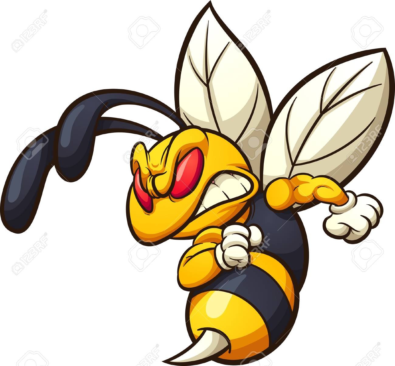 Angry Hornet Wasp Or Bee Mascot Clip Art Vector Illustration