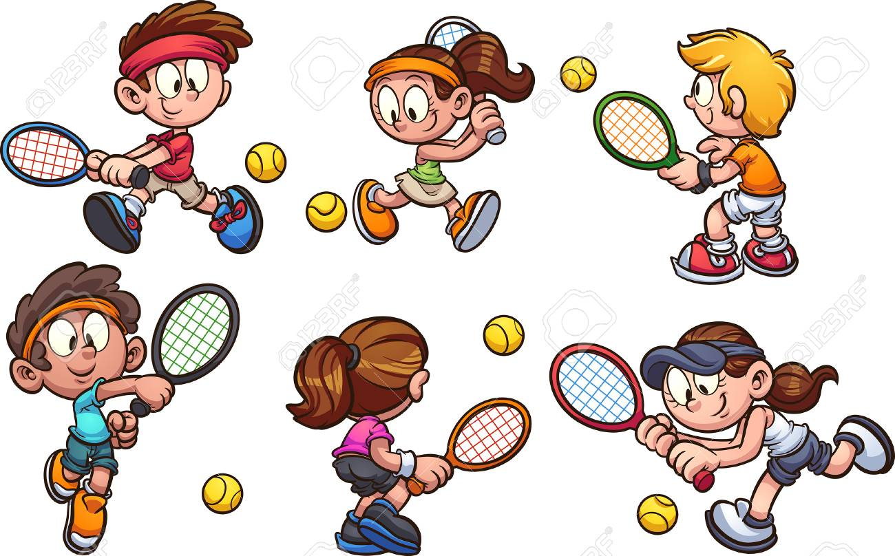 Cartoon Kids Playing Tennis Clip Art Vector Illustration With Royalty Free Cliparts Vectors And Stock Illustration Image 118382085