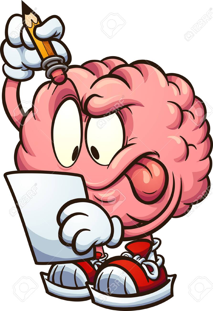 cartoon brain looking at a piece of paper and thinking clip art royalty free cliparts vectors and stock illustration image 123687490 123rf com