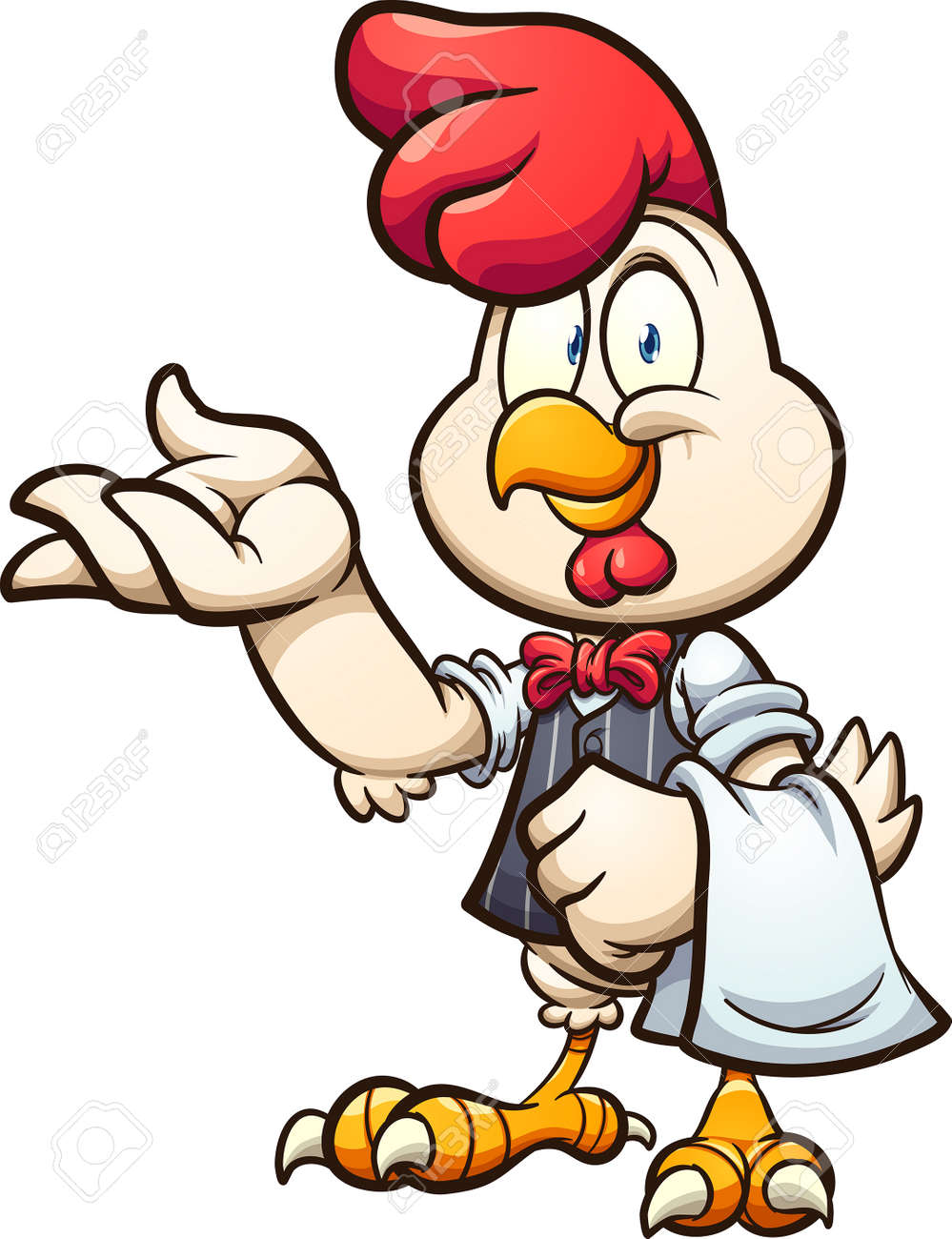 Cartoon waiter chicken with vest and bow tie. Vector clip art illustration with simple gradients. All on a single layer. - 168226217
