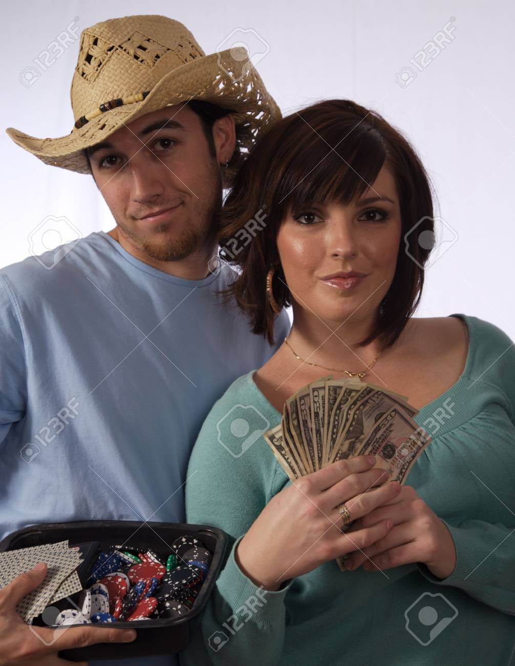 Two young people happy about having money Stock Photo - 2214883