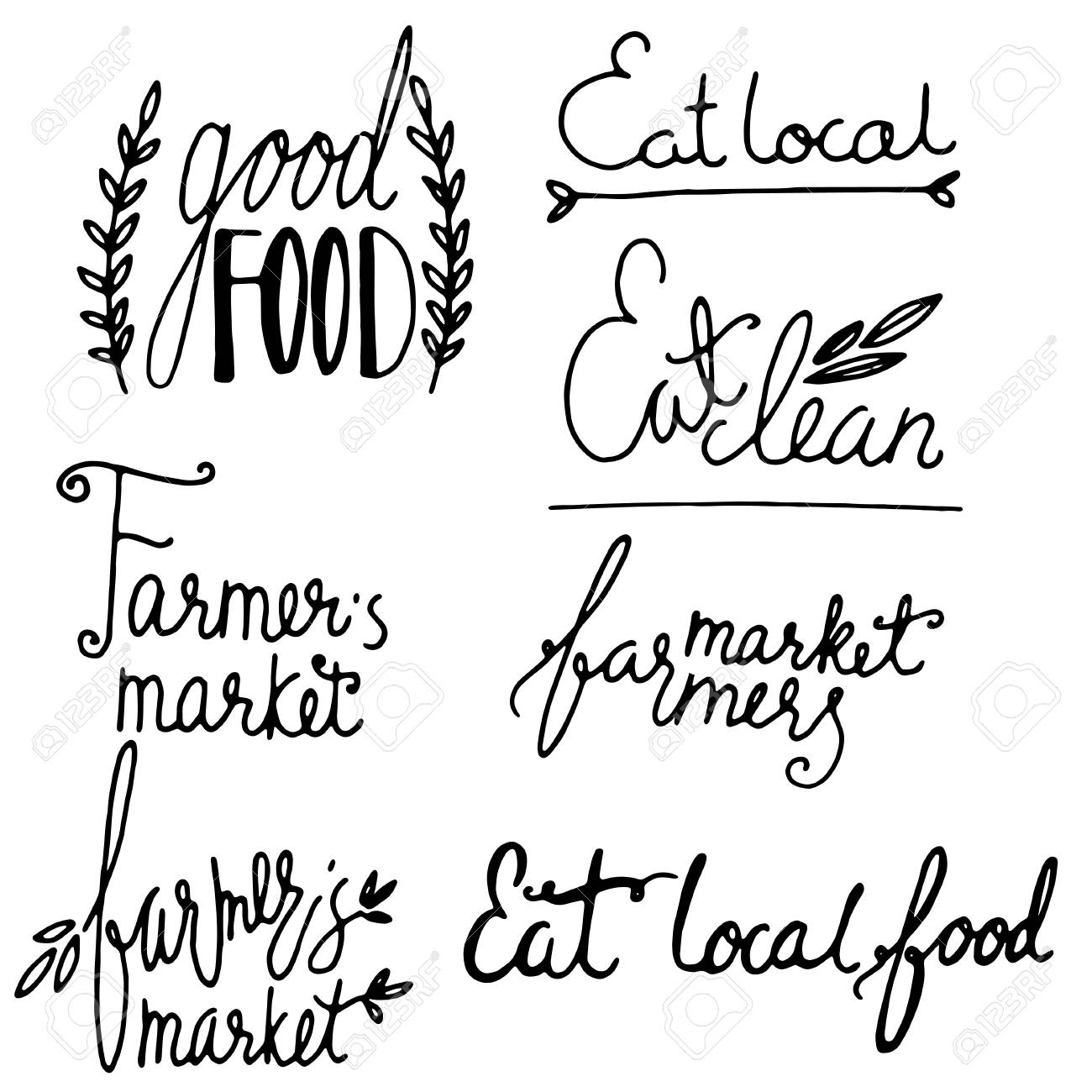 grungy doodle organic farm market eat clean icons royalty free