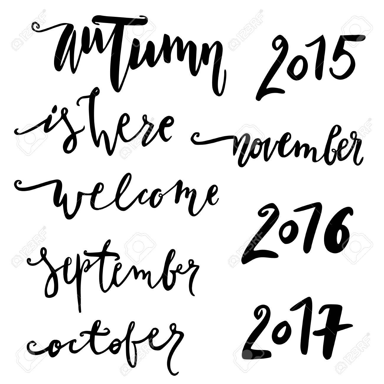 Hello October. Hand Drawn Lettering. Autumn Quote. Modern Calligraphy.  November, October