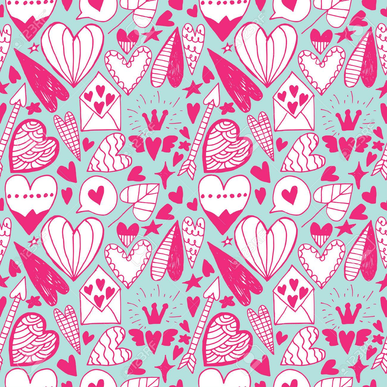 Hand Drawn Doodle Heart Seamless Pattern Saint Valentine Day Royalty Free Cliparts Vectors And Stock Illustration Image 44767683