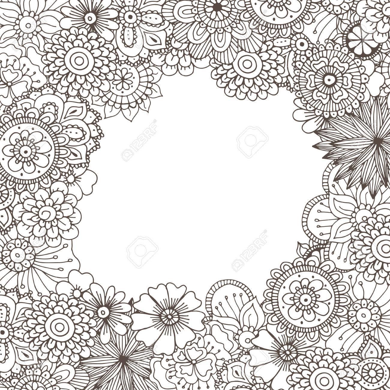 Dibujado A Mano Ilustración Del Doodle Del Zentangle De Libros Para Colorear Para Adultos En El Vector Garabatos Florales De Encaje únicos Para Su