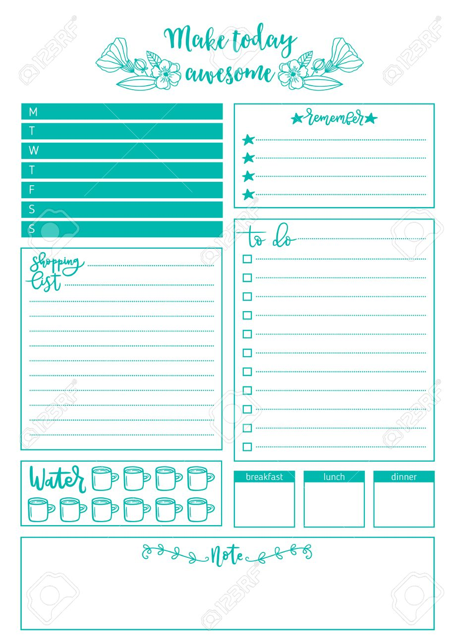 clean style daily planner template. stationery design. cute and