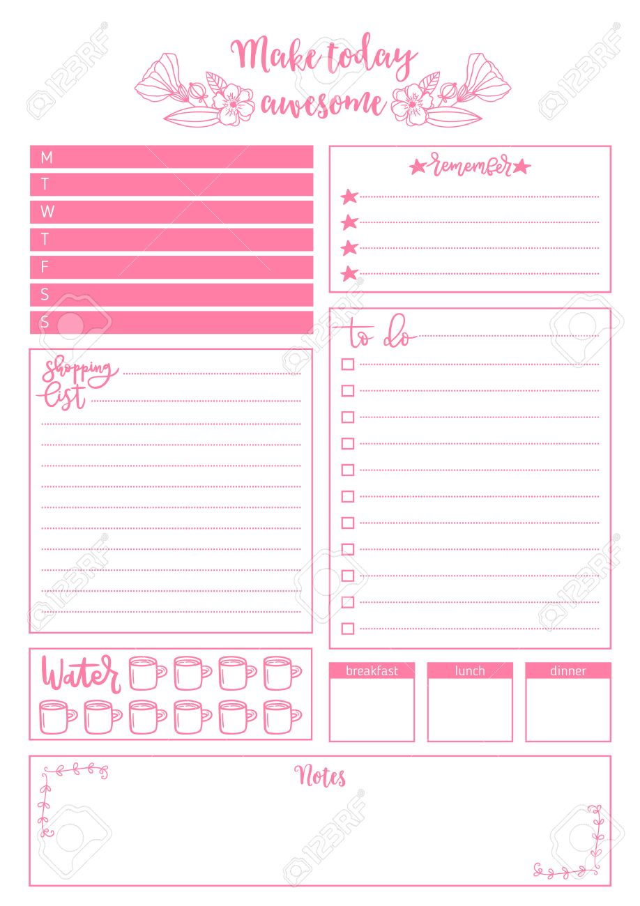 Clean Style Daily Planner Template Stationery Design Cute And