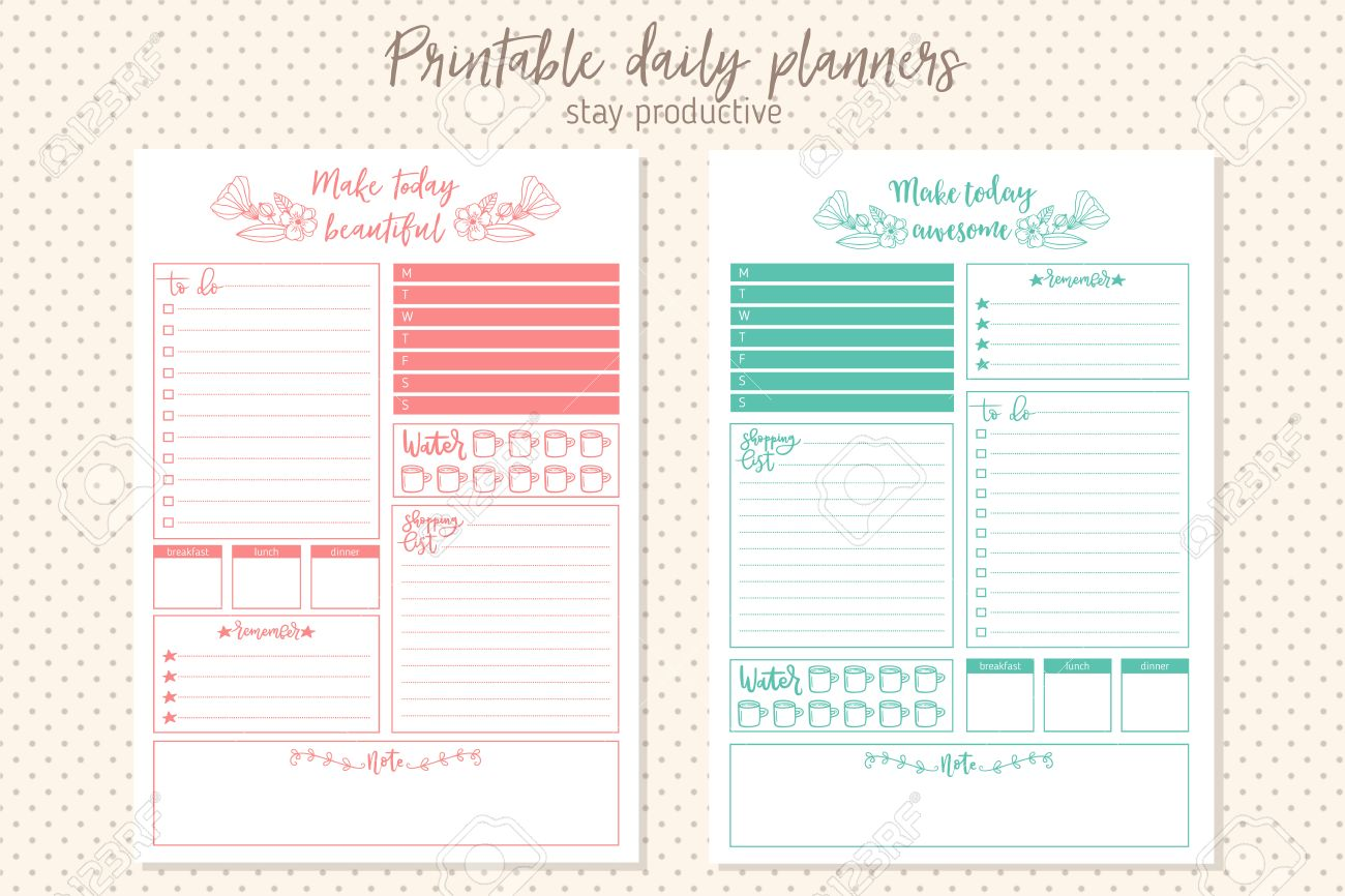 Clean Style Daily Planner Template. Stationery Design. Cute And Simple  Printable To Do List  Daily To Do Template