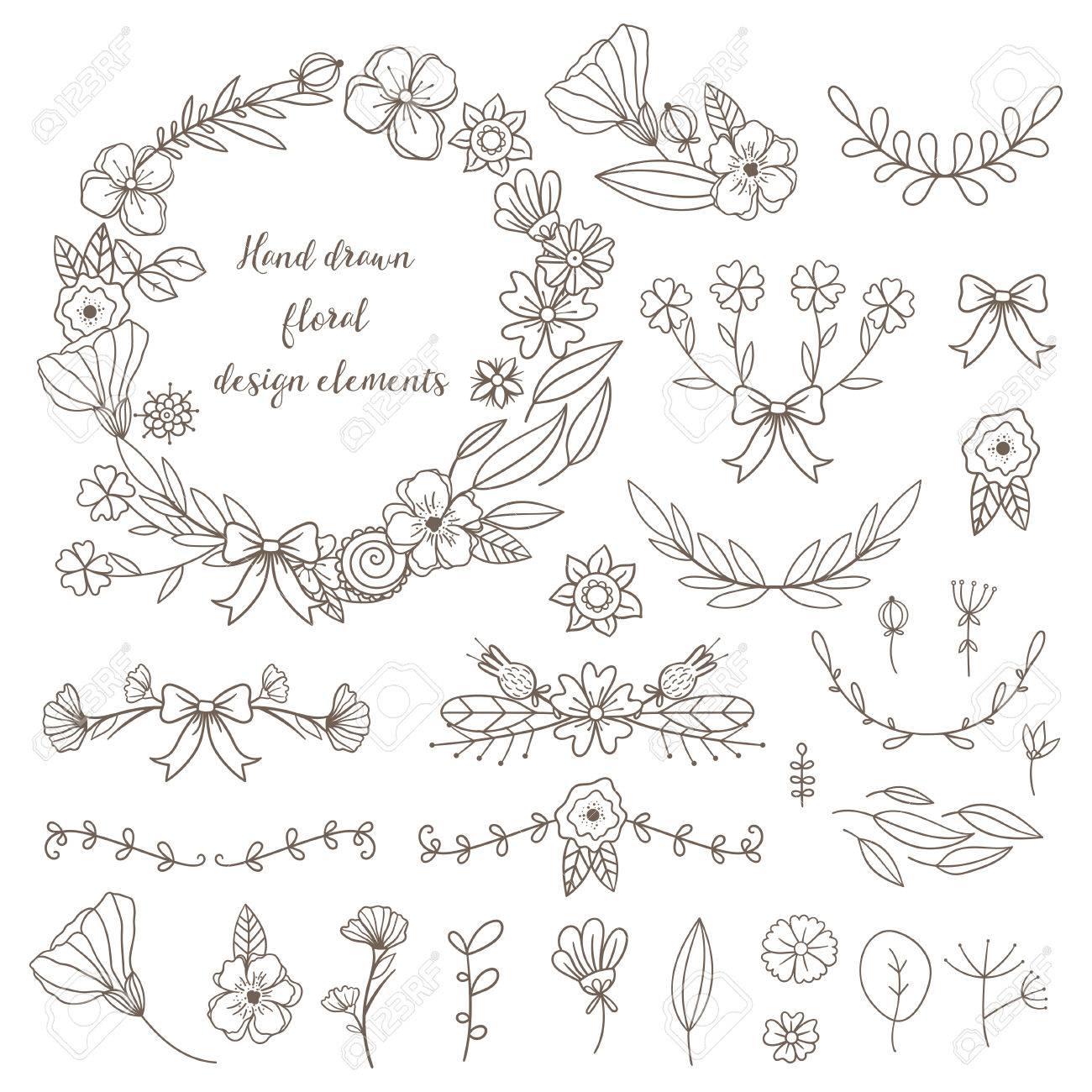 Set Of Hand Drawn Doodle Flowers And Plants. Girly Boho Botanical ...