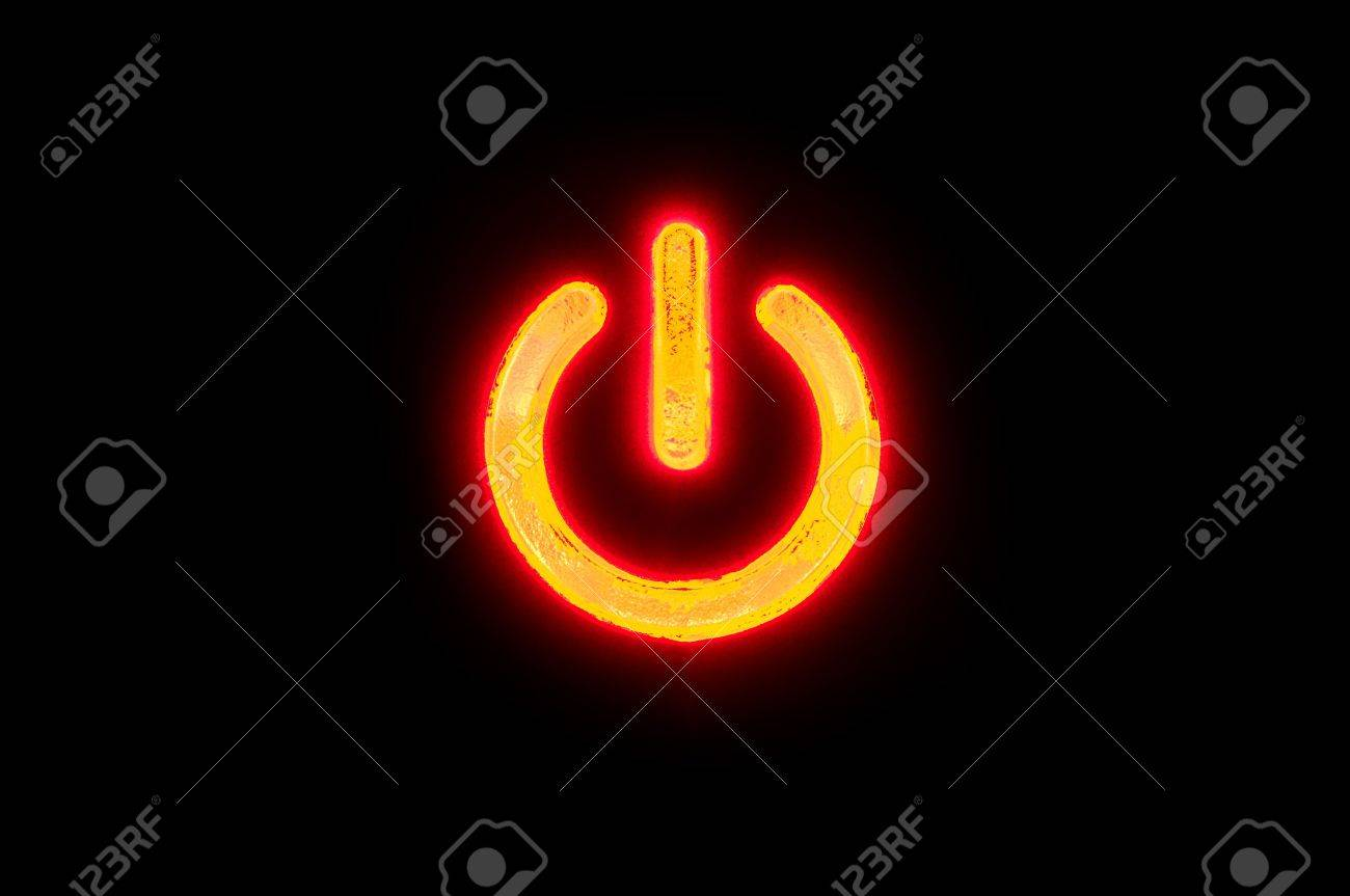 A Simple Button As A Symbol For Power Or Connectivity Stock Photo