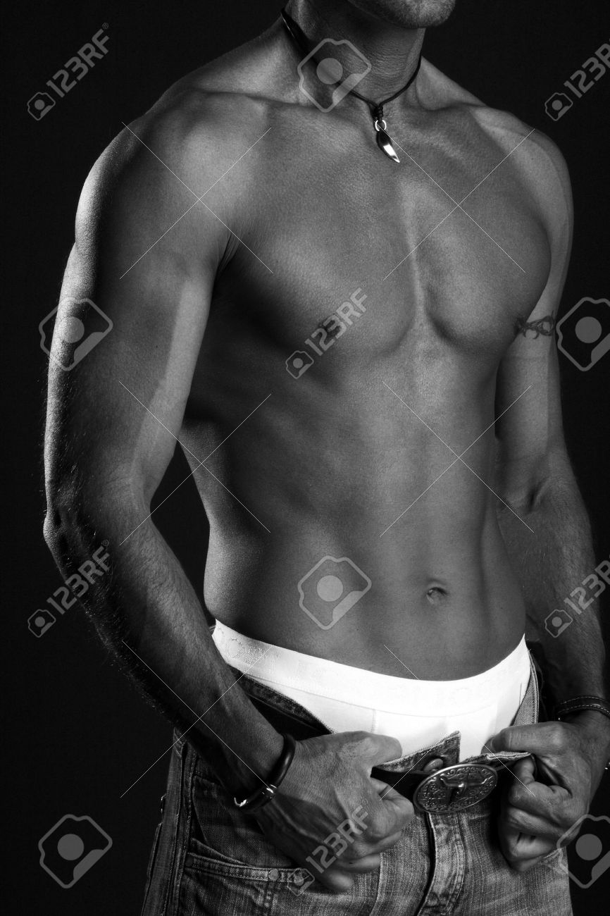 handsome man with naked upper body black and white Standard-Bild - 28698613