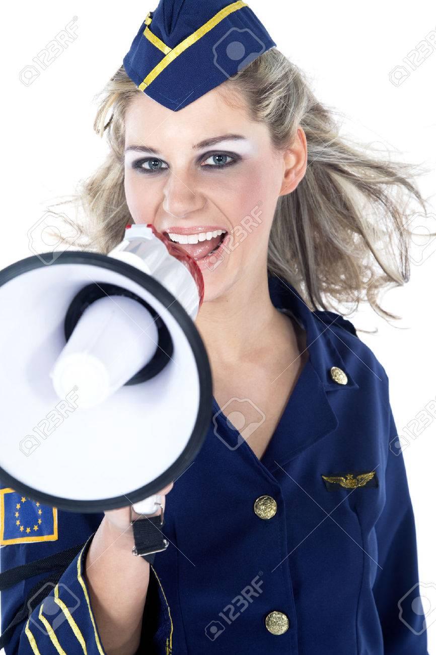beautiful woman stewardess with megaphone - 28736172