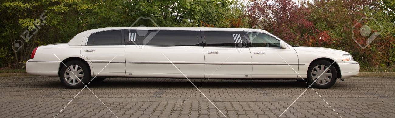 strech limousine in white outdoors - 31456017