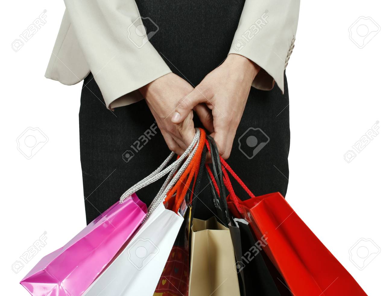 Woman with shopping bags isolated on white background Stock Photo - 17872330