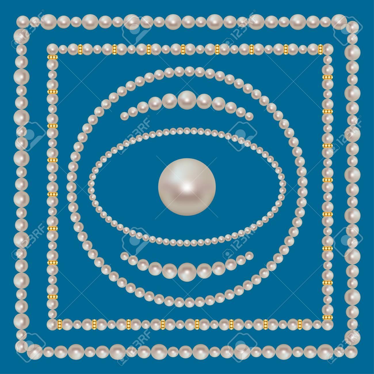 Perle Frames Set Auf Dem Blauen Hintergrund. Quadratischen Rahmen ...